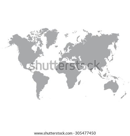 Blank Grey similar World map isolated on white background. Monochrome Worldmap Vector template for website, design, cover, annual reports, infographics. Flat Earth Graph illustration. - stock vector