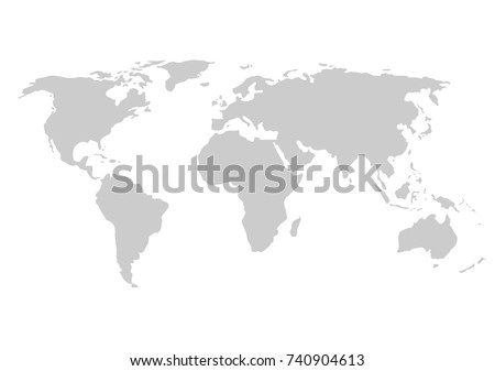 Blank Grey World Map Isolated On Stock Vector Shutterstock - Blank world map vector
