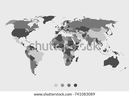 Blank grey world map isolated on stock vector 741083089 shutterstock blank grey world map isolated on white background best popular world map vector globe template gumiabroncs Image collections