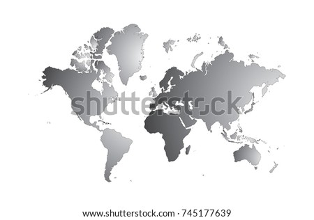 Blank grey world map isolated on stock vector 745177639 shutterstock blank grey world map isolated on white background popular world map vector globe template for gumiabroncs Image collections