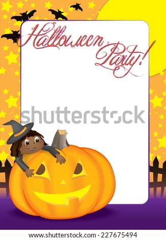 Blank Halloween Party invitation or holiday flyer with a Cute Ethnic girl dressed as a witch, climbing on top of a friendly pumpkin.  - stock vector