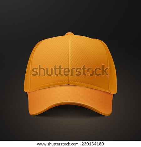 blank hat in orange isolated on black background - stock vector