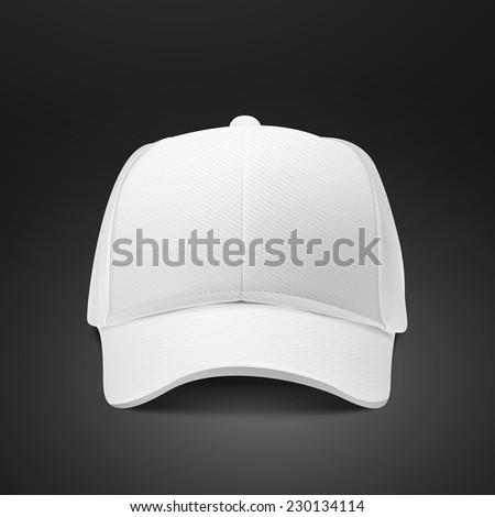 blank hat in white isolated on black background - stock vector