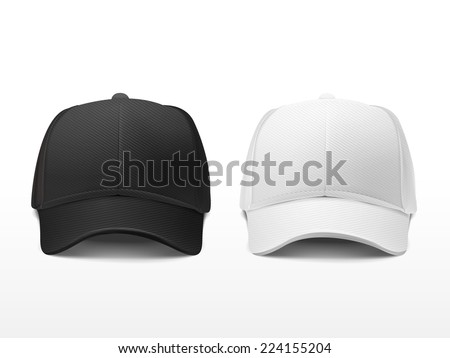 blank hats set in white and black isolated on white  - stock vector
