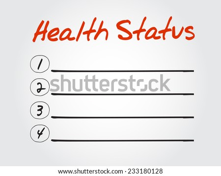 Blank Health Status list, vector concept background - stock vector