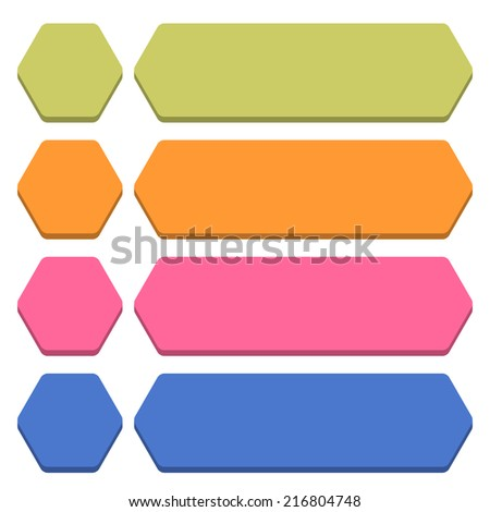 Blank hexagon and rounded rectangle icon isolated on white background in flat style. Set 04 green, orange, pink, cobalt colors button. Vector illustration web design element in 8 eps - stock vector