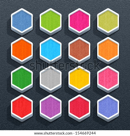 Blank hexagon button with painted texture. Empty web internet icon with shadow on black plastic surface background. Simple flat, solid, mono, plain style. Vector illustration design element 10 eps - stock vector