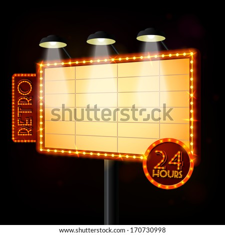 Blank illuminated billboard poster on black background vector illustration - stock vector