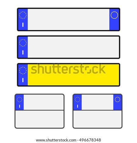 Blank Italian vehicle licence number plates in different styles vector