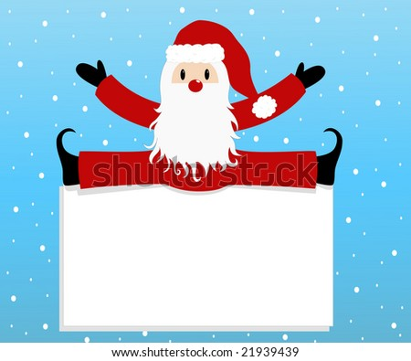 blank label with Santa Claus on blue background. vector christmas greeting card