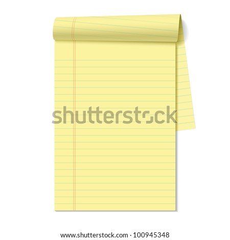 Blank legal pad. Vector. - stock vector