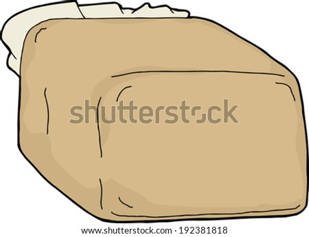 Blank loaf of bread in plastic bag over white