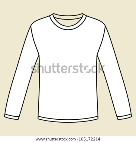Blank long-sleeved T-shirt template - stock vector