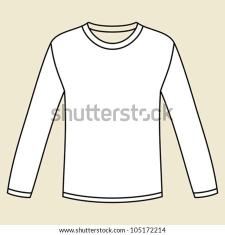 Blank long-sleeved T-shirt template - stock vector