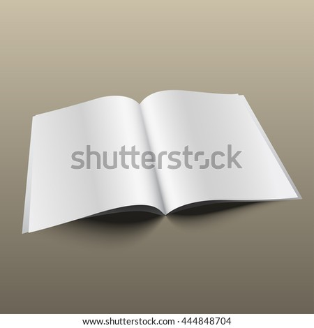 Blank magazine mockup template on gold background. Realistic vector EPS10 illustration.