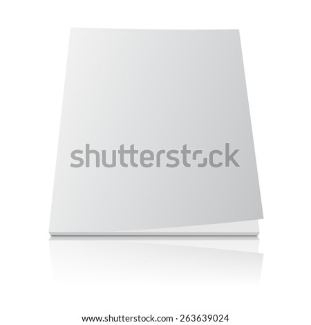 Blank magazine template cover with curled corner and reflection effect on white background. - stock vector