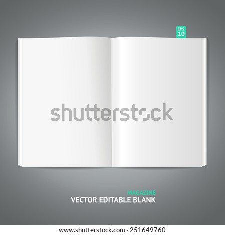 Blank magazine template isolated on gray background - stock vector