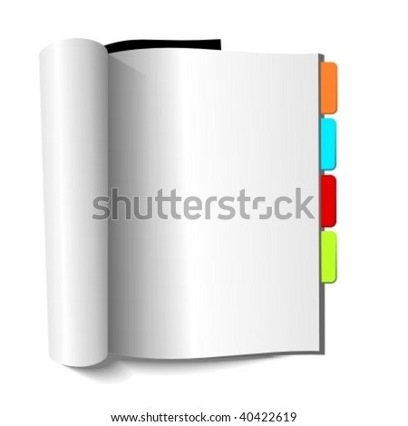 Blank magazine with book-marks on white background. Vector illustration. - stock vector