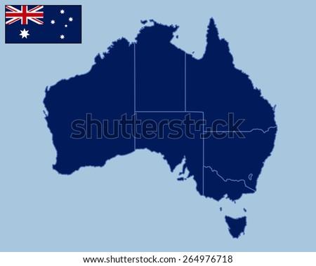 Blank Map of Australia  - stock vector
