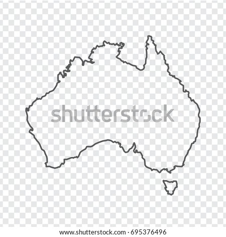 blank map of australia thin line australia map a transparent background stock vector