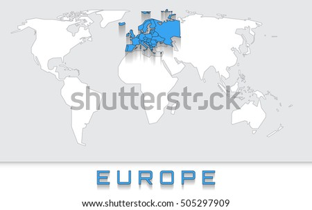 Blank Map World Blue Highlighted Continent Stock Vector - Blank of the world
