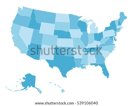 Blank Map United States America Aka Stock Vector 539106040