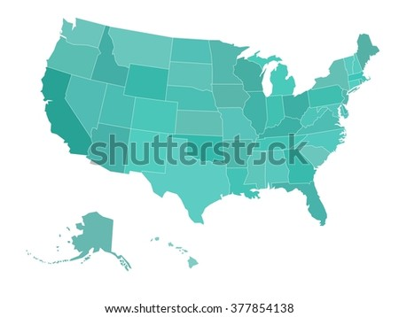 Blank map of United states of America. Vector illustration in blue-green shades on white background. - stock vector