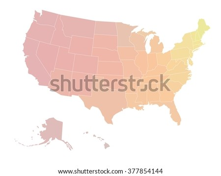 Blank map of United states of America. Vector illustration in yellow-red color scale shades on white background. - stock vector