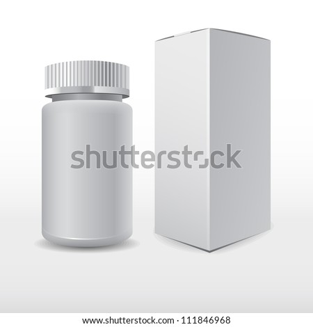 Blank medicine bottle vector illustration. Package of drugs with package, box - stock vector