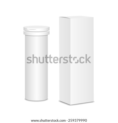 Blank medicine bottle vector illustration.  Package of drugs with package box - stock vector