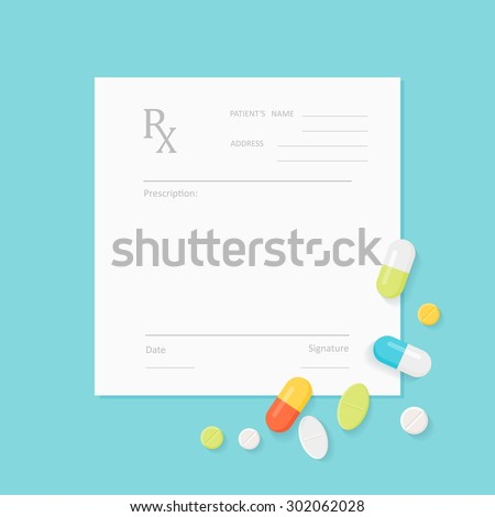 Blank Medicine Prescription Form with Pills Scattered on It. Vector EPS 10 - stock vector