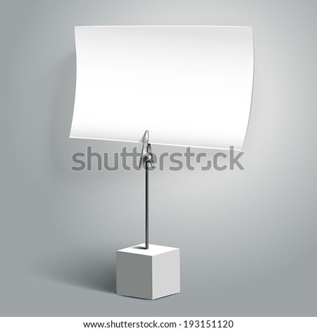 blank memo clip with soft shadow isolated on white background - stock vector