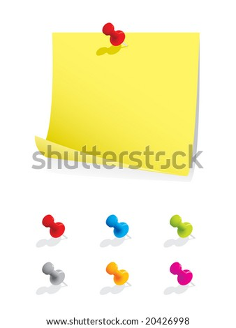 Blank memo paper with colourful pins - stock vector