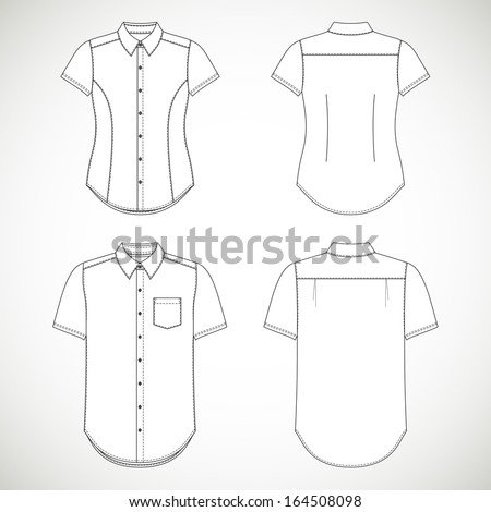 Blank Men's and Women's shirt with short sleeves in front and back views - stock vector