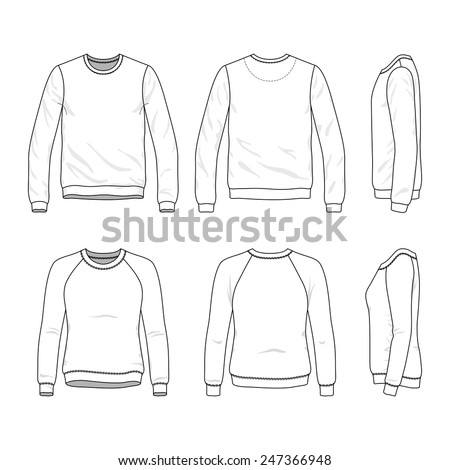 Blank Men's and Women's sweatshirt in front, back and side views - stock vector