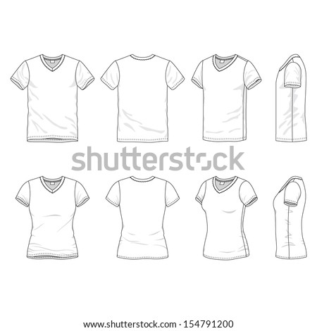 Blank Men's and Women's v-neck t-shirt in front, back and side views - stock vector
