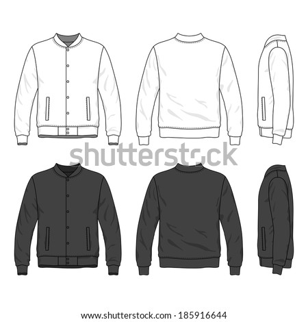 Blank men's bomber jacket with buttons in front, back and side views. Isolated on white. - stock vector