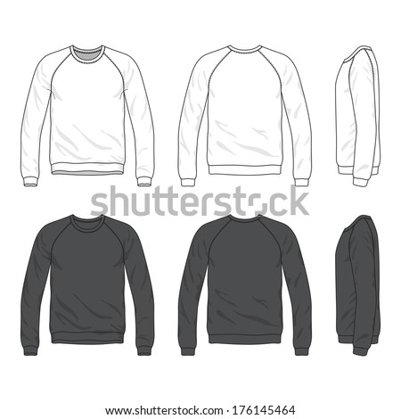 Blank Men's raglan long sleeve sweatshirt in front, back and side views - stock vector