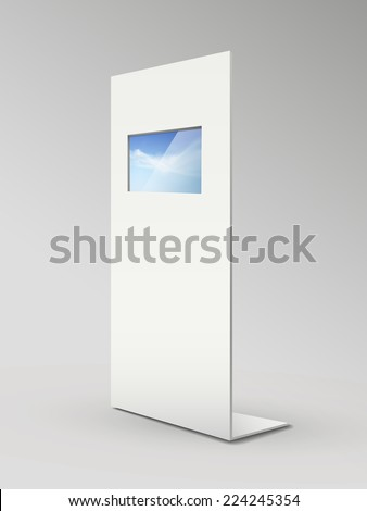 blank metal advertising stands isolated on grey - stock vector