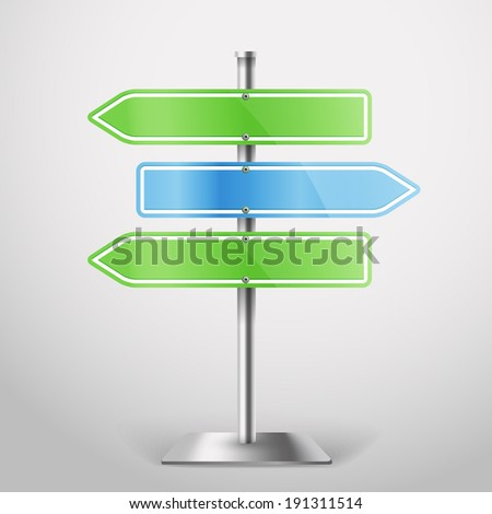 Blank metal arrow boards. Template for a text - stock vector