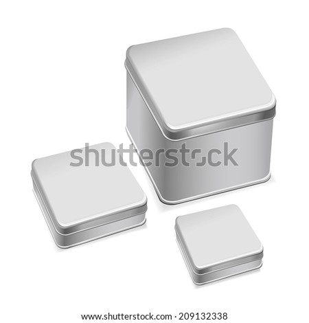 blank metal box template isolated over white background