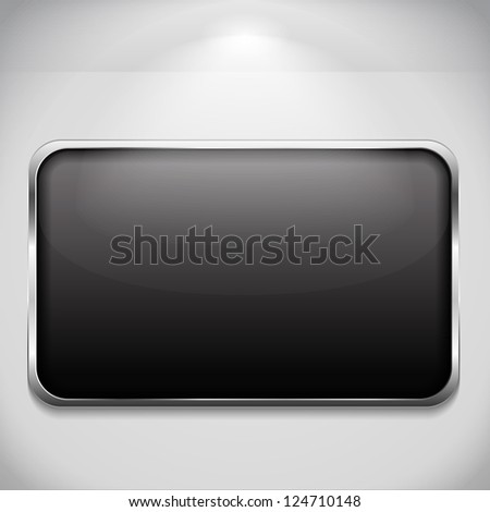 Blank metal frame hanging on the wall, vector eps10 illustration - stock vector