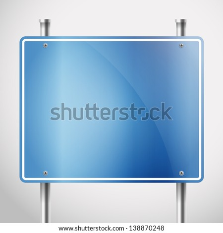 Blank metal information board template - stock vector