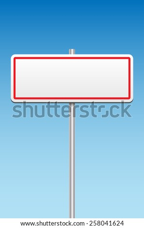 Blank metal sign and blue sky - place for your message. Vector illustration. - stock vector