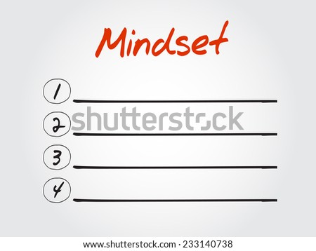 Blank Mindset list, vector concept background - stock vector