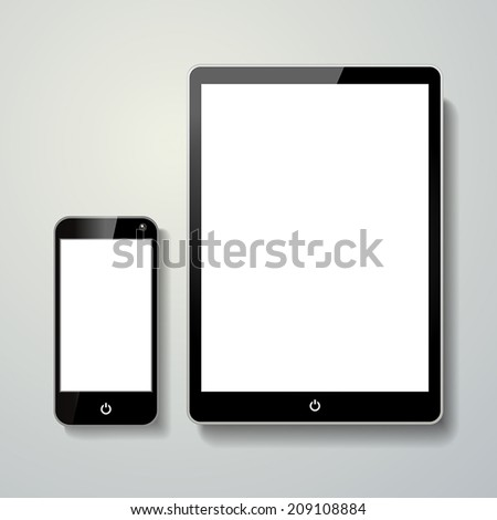 blank mobile phone and touch pad isolated over grey background - stock vector
