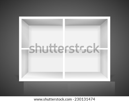 blank modern bookcase isolated over black background - stock vector