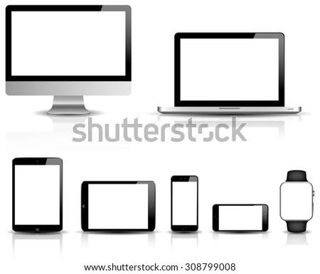 blank modern digital devices vector isolated - stock vector
