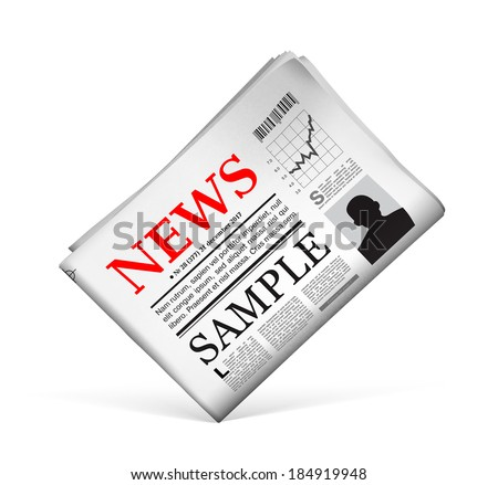 Blank newspaper with perforated edges and texture on white background. Vector illustration - stock vector