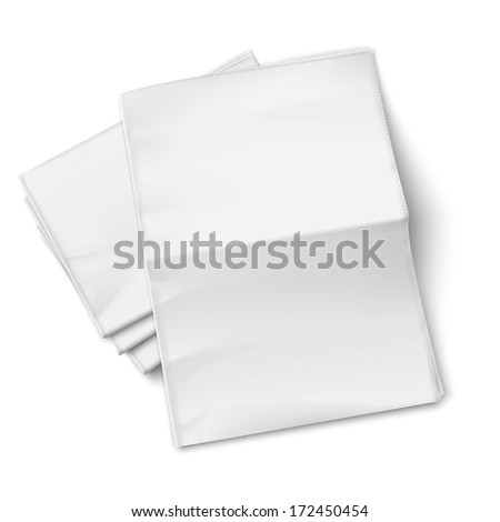 Blank newspapers pile with unfolded one on white background. Top view. Vector illustration. EPS10. - stock vector